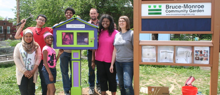 The design team that built our Little Free Library.